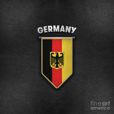 Footie Digital Art - Germany Pennant With Leather Style Background by Carsten Reisinger