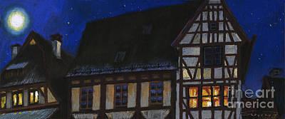 Germany Ulm Fischer Viertel Moonroofs Print by Yuriy  Shevchuk