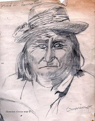 Indian Chief Drawing - Geronimo by Genevieve Esson