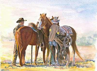 Horse Watercolor Painting - Get'n Saddled by Don Dane