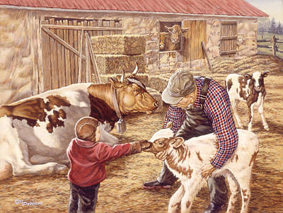 Children Painting - Getting Acquainted by Richard De Wolfe