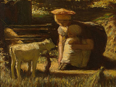 Matthijs Maris Painting - Getting Acquainted. The Little Goat by Matthijs Maris