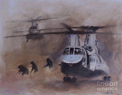 Helicopter Painting - Getting Dirty by Stephen Roberson