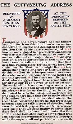Abraham Lincoln Photograph - Gettysburg Address by International  Images
