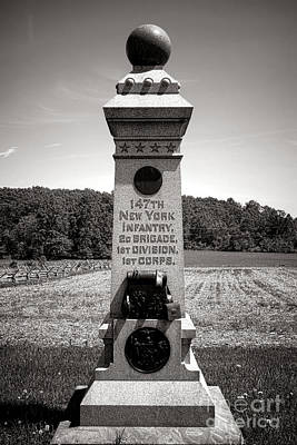 Gettysburg National Park 147th New York Infantry Monument Print by Olivier Le Queinec
