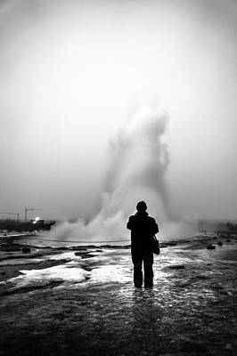 Faceless Photograph - Geyser - Iceland - Black And White Street Photography by Giuseppe Milo