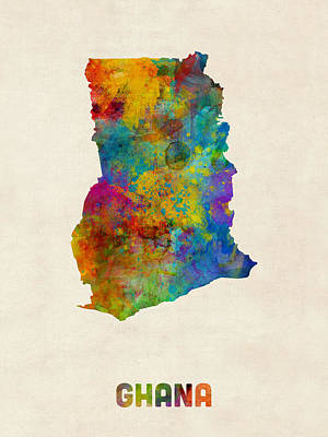 Ghana Watercolor Map Print by Michael Tompsett