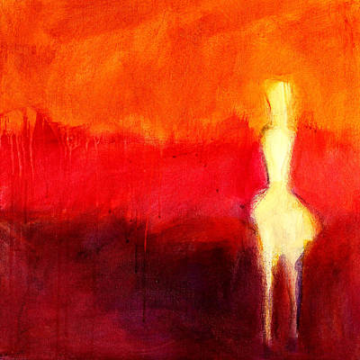 Red Abstract Painting - Ghost Figure No.4 by Nancy Merkle