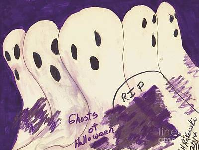 Ghosts Of Halloween Print by Elinor Rakowski