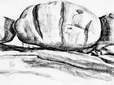 Charcoal Landscape Drawings Drawing - Giant Baked Potato At Elephant Rocks State Park by Kip DeVore