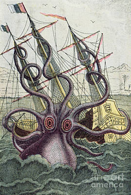 Ship. Galleon Painting - Giant Octopus by Denys Montfort