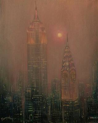 Empire State Building Painting - Giants In The Mist by Tom Shropshire