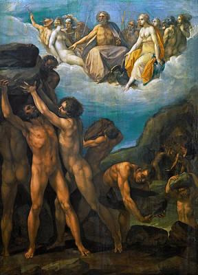 Giuseppe Cesari Painting - Giants Storming Olympus by Giuseppe Cesari