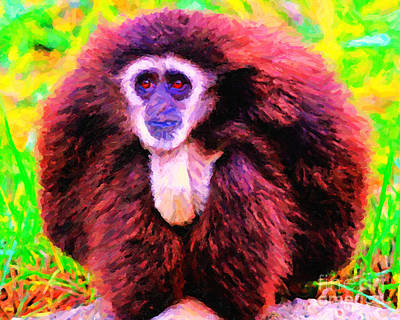 Ape Digital Art - Gibbon . Photoart by Wingsdomain Art and Photography