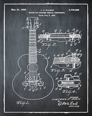 Acoustic Guitar Digital Art - Gibson Acoustic Guitar Patent 1955 Chalk by Bill Cannon