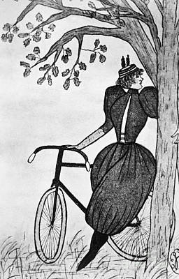 Gibson Girl: Bicycle Print by Granger
