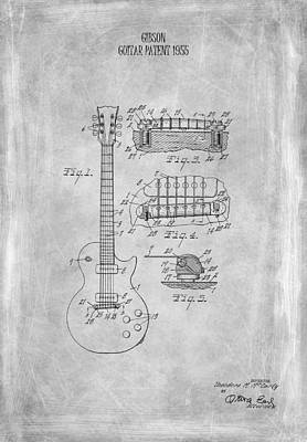 Guitar Photograph - Gibson Guitar Patent From 1955 by Mark Rogan