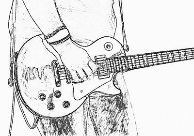 Music Digital Art - Gibson Les Paul Guitar Sketch by Randy Steele