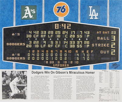 Scoreboard Mixed Media - Gibson's 1988 World Series Homer by Marc Yench