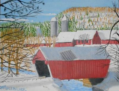 Covered Bridge Painting - Gifford Covered Bridge In Winter by Jack McKenzie