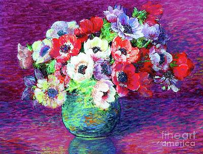 Arrangement Painting - Gift Of Flowers, Red, Blue And White Anemone Poppies by Jane Small