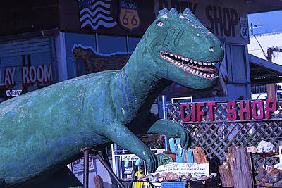 Weatherworn Photograph - Gift Shop Dinosaur Route 66 by Garry Gay