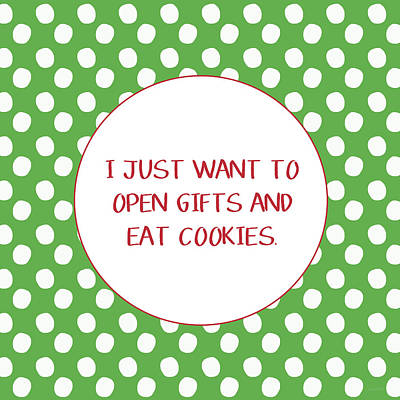 Gifts And Cookies- Art By Linda Woods Print by Linda Woods