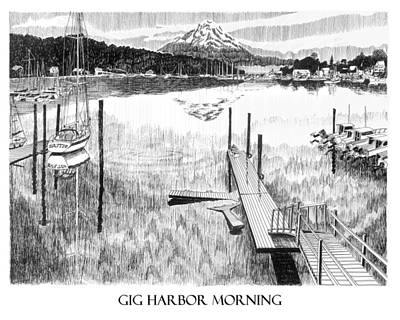 Projects Drawing - Gig Harbor Morning by Jack Pumphrey