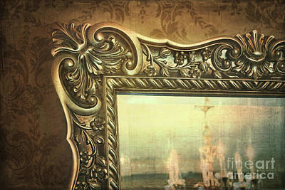 Gilded Mirror Reflection Of Chandelier Print by Sandra Cunningham