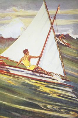 Hawaiian Legacy Archive Painting - Gilles Man Surfing by Hawaiian Legacy Archive - Printscapes