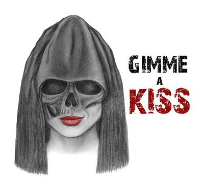 Dark Evil Scary Drawing - Gimme A Kiss Poster by Drawings Drawer