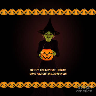 Jack-o-lantern Digital Art - Gimmee Some Sugar Witch by Methune Hively