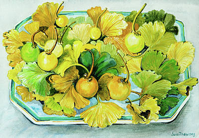 Ginkgo, Fruit And Leaves Print by Joan Thewsey