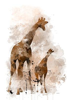 Giraffe And Baby Print by Marlene Watson