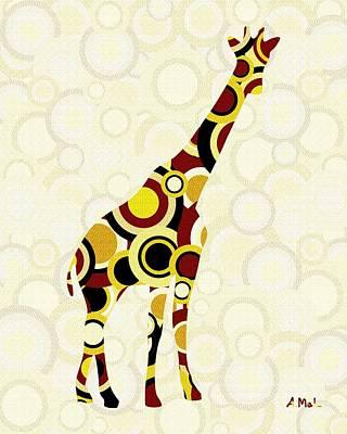 Yellow Digital Art - Giraffe - Animal Art by Anastasiya Malakhova
