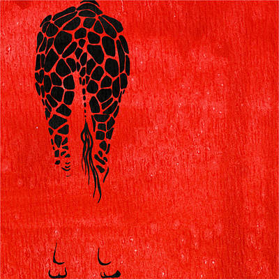 Portrait Painting - Giraffe Animal Decorative Red Wall Poster  8 - By  Diana Van by Diana Van