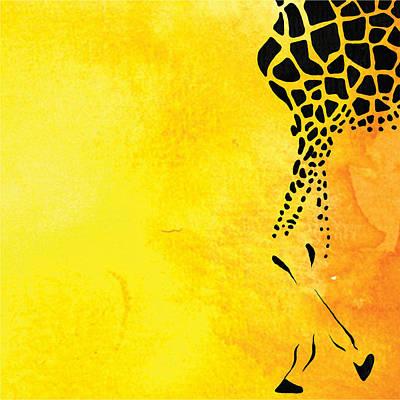 Portrait Painting - Giraffe Animal Decorative Yellow Wall Poster 6 - By Diana Van by Diana Van