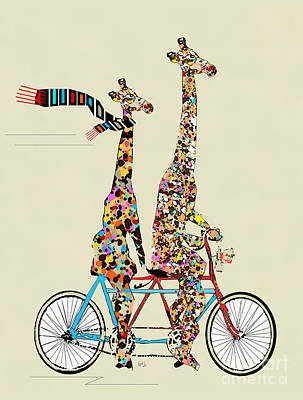 Bicycle Art Painting - Giraffe Days Lets Tandem by Bri B