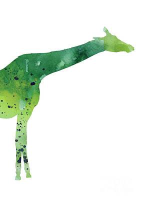 Giraffe Mixed Media - Giraffe Drawing Watercolor Art Print by Joanna Szmerdt