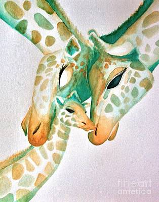 Mother And Baby Giraffe Painting - Giraffe Family by Shayla Tansey