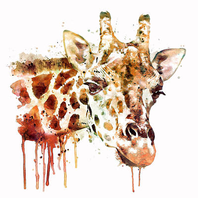 Single Digital Art - Giraffe Head by Marian Voicu
