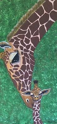 Mother And Baby Giraffe Painting - Giraffe Mother And Baby by Eva-Marie Hambley