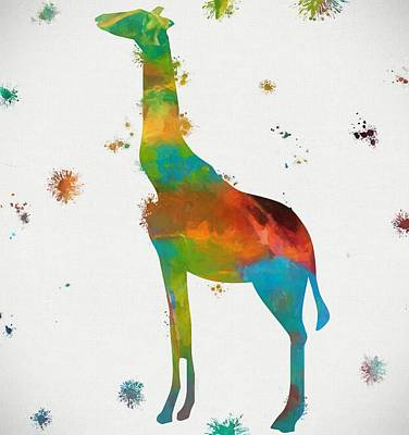 Giraffe Mixed Media - Giraffe Paint Splatter by Dan Sproul