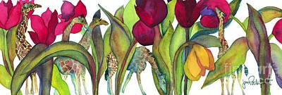 Tulip Painting - Giraffes by Jeff Friedman