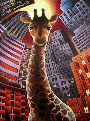 Giraffes Often Starve In Babylon Print by Marcus Anderson