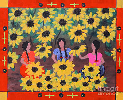 Oaxacan Painting - Girasoles by Sonia Flores Ruiz