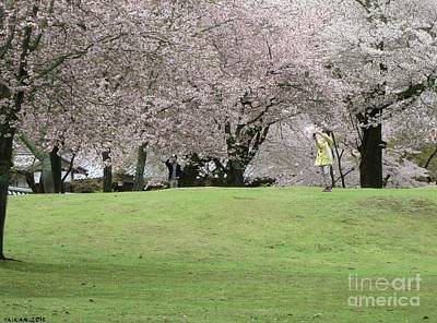 Taikan Photograph - Girl And Boy Taking Photos Of Cherry Blossoms by Taikan Nishimoto