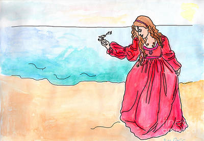 Beach Theme Decorating Painting - Girl And Singing Fish by Debbie Davidsohn