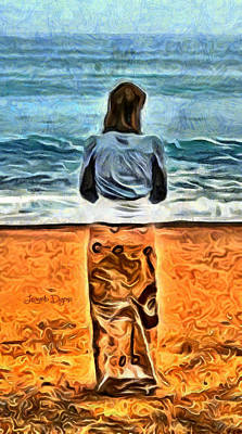 Alone Painting - Girl At Beach by Leonardo Digenio