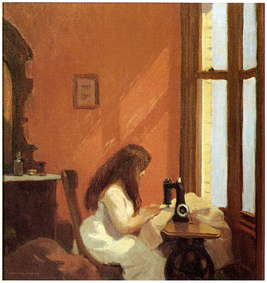 Girl At Sewing Machine Print by Edward Hopper